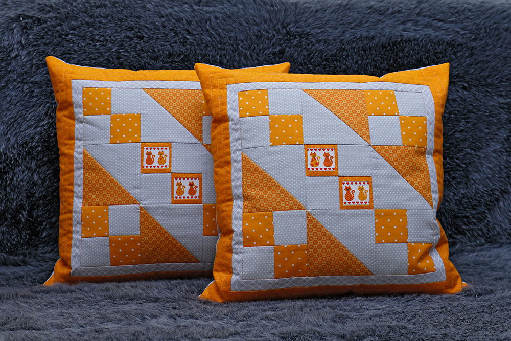 patchwork und quiltforum kissenbez ge in orange und grau. Black Bedroom Furniture Sets. Home Design Ideas